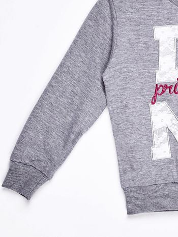 Szary komplet dla dziewczynki bluza i spodnie                              zdj.                              5