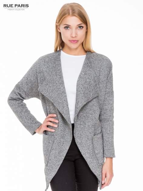Szary melanżowy bluzożakiet z kieszeniami                                  zdj.                                  1