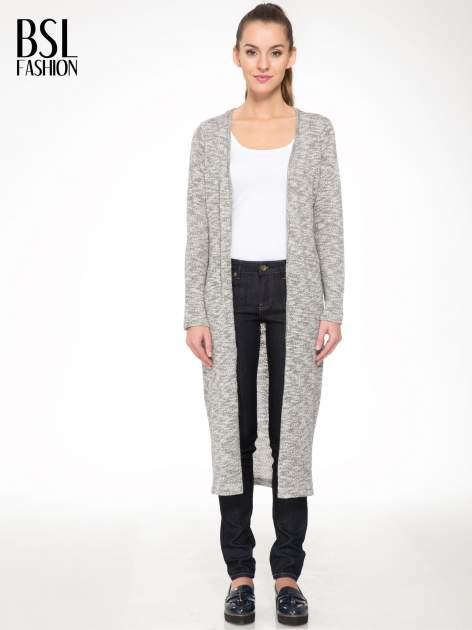 Szary melanżowy sweter typu długi kardigan                                  zdj.                                  1