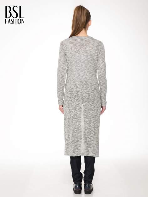 Szary melanżowy sweter typu długi kardigan                                  zdj.                                  4