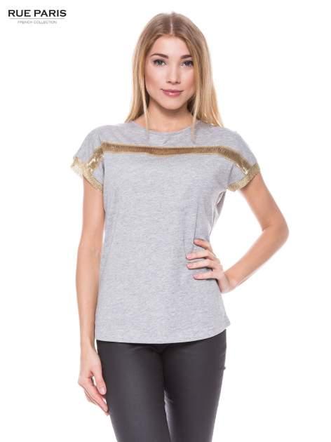Szary melanżowy t-shirt ze złotą aplikacją