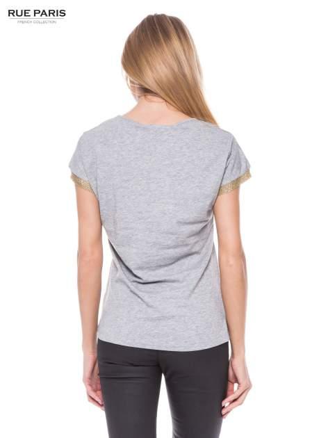 Szary melanżowy t-shirt ze złotą aplikacją                                  zdj.                                  3