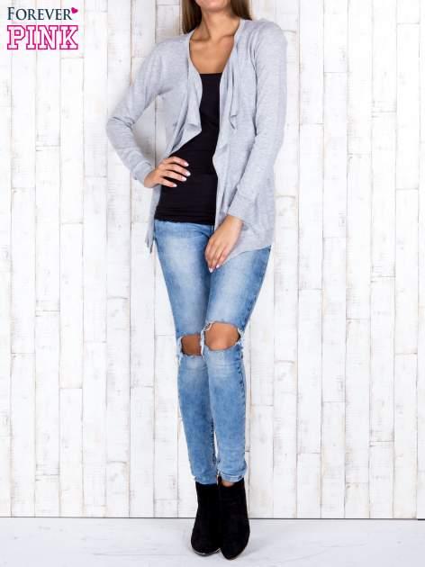 Szary niezapinany sweter z melanżowym efektem                                  zdj.                                  2