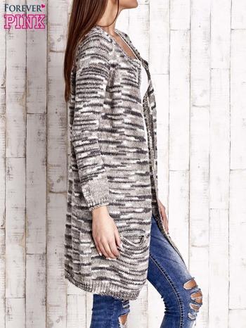 Szary otwarty melanżowy sweter                                   zdj.                                  3