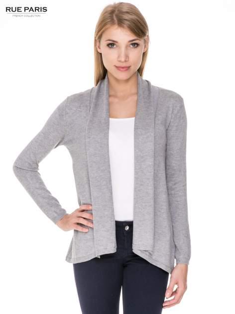 Szary otwarty sweter narzutka z dłuższym tyłem                                  zdj.                                  1