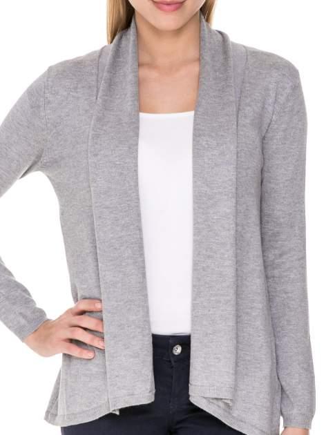 Szary otwarty sweter narzutka z dłuższym tyłem                                  zdj.                                  5
