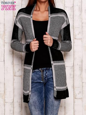 Szary otwarty sweter w kwadraty                                  zdj.                                  1
