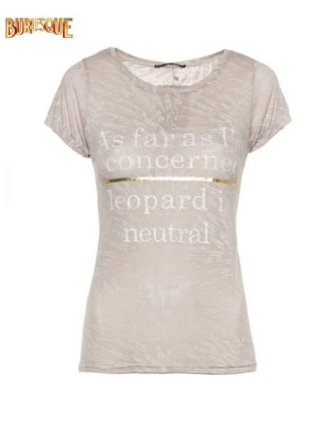 Szary półtransparentny t-shirt z napisem                                  zdj.                                  8