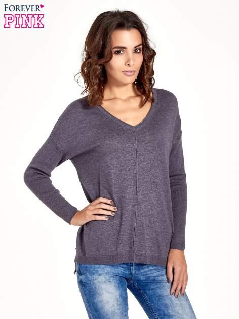 Szary sweter V-neck z rozporkami                                  zdj.                                  1