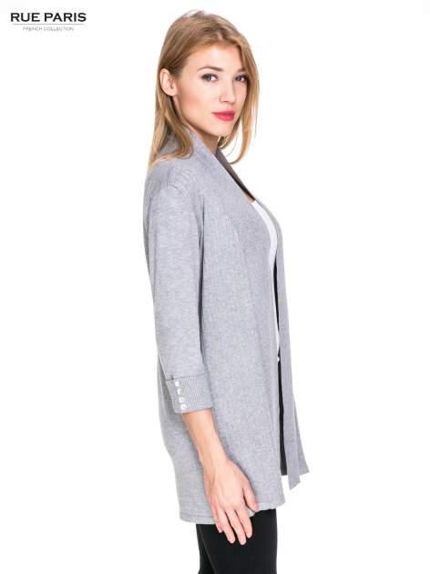 Szary sweter kardigan z podwijanym rękawami z guziczkami                                  zdj.                                  3