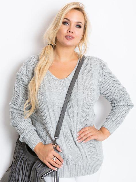 Szary sweter plus size Latte