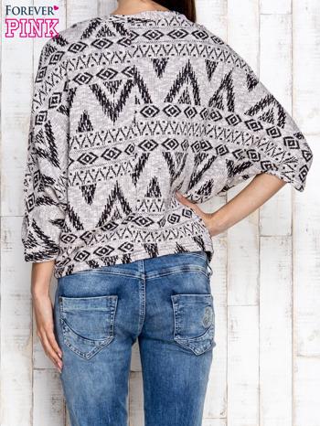 Szary sweter w azteckie wzory                                  zdj.                                  2
