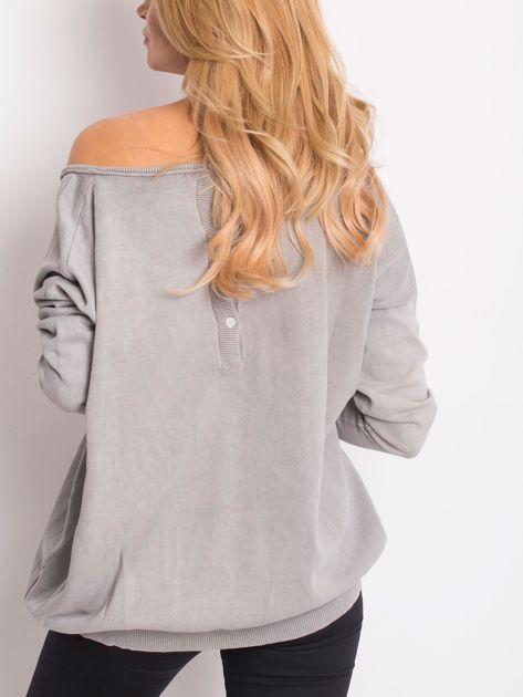 Szary sweter z guzikami z tyłu                              zdj.                              2