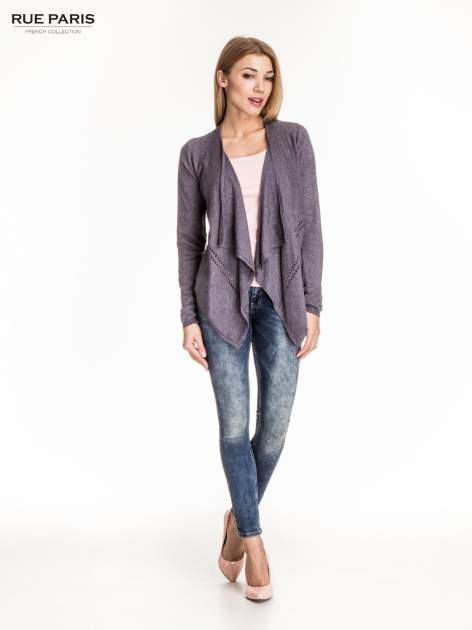 Szary sweter z kaskadowymi bokami i oczkami                                  zdj.                                  2