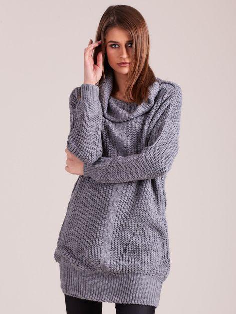 Szary sweter z luźnym golfem                              zdj.                              1
