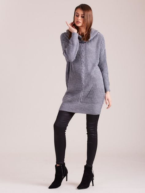 Szary sweter z luźnym golfem                              zdj.                              4