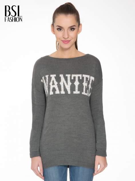 Szary sweter z nadrukiem WANTED i dżetami