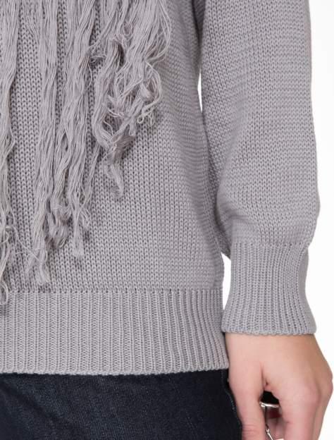 Szary sweter z sercem obszytym frędzlami                                  zdj.                                  8