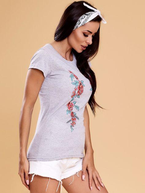 Szary t-shirt damski w kwiaty                              zdj.                              6