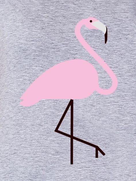 Szary t-shirt damski z motywem flaminga                              zdj.                              2