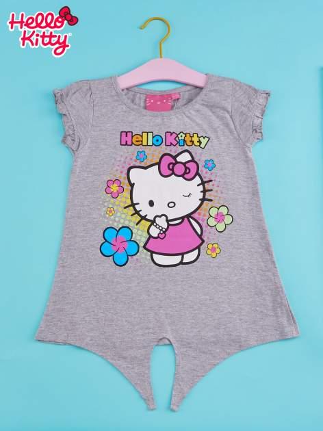 Szary t-shirt dla dziewczynki HELLO KITTY z wiązaniem na dole                                  zdj.                                  1