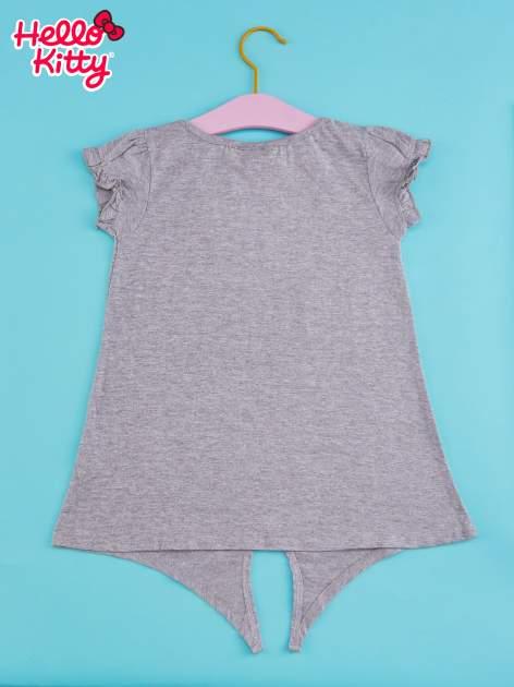 Szary t-shirt dla dziewczynki HELLO KITTY z wiązaniem na dole                                  zdj.                                  2
