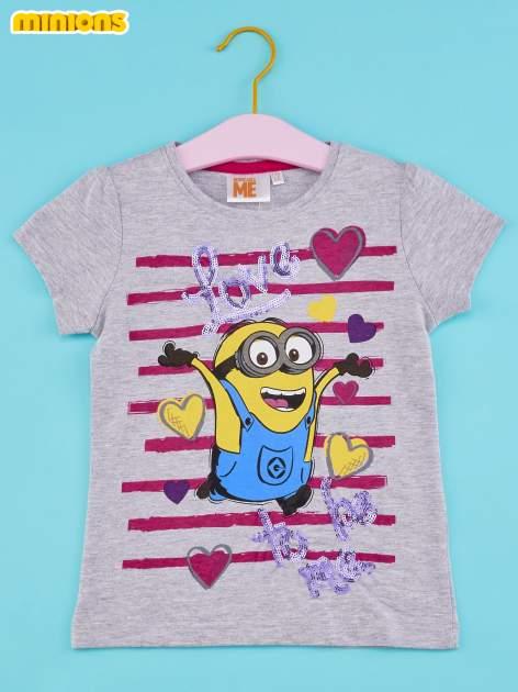 Szary t-shirt dla dziewczynki MINIONKI z cekinami                                  zdj.                                  1