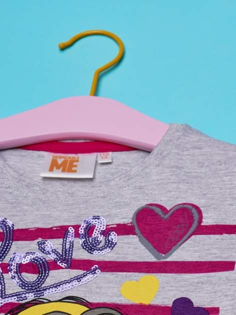 Szary t-shirt dla dziewczynki MINIONKI z cekinami                                  zdj.                                  4