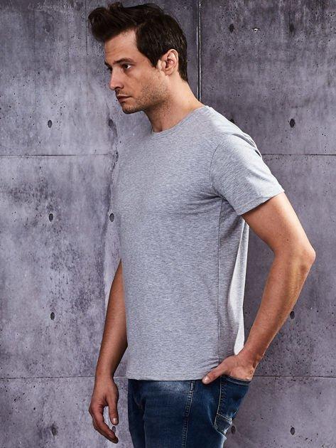 Szary t-shirt męski basic                              zdj.                              3