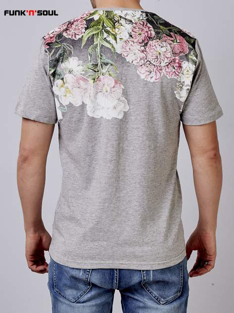 Szary t-shirt męski hipster w kwiaty Funk n Soul                                  zdj.                                  3