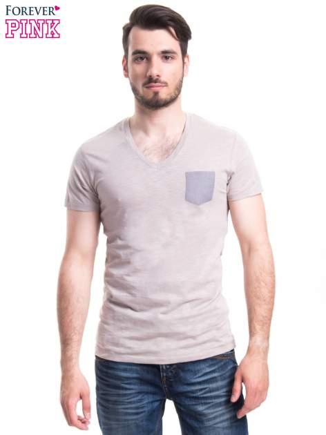 Szary t-shirt męski z kieszonką