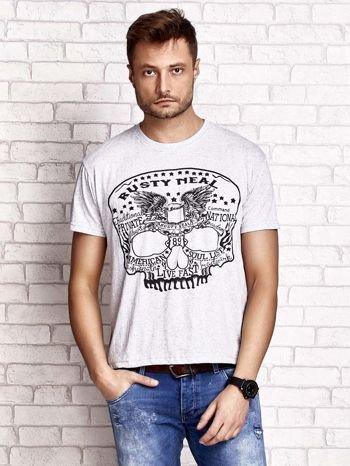Szary t-shirt męski z nadrukiem czaszki i napisami                                  zdj.                                  1
