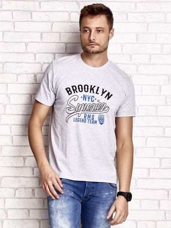 Szary t-shirt męski z napisem BROOKLYN NYC                                  zdj.                                  1