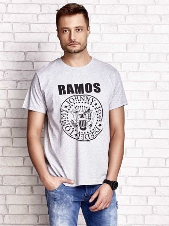 Szary t-shirt męski z napisem RAMOS i nadrukiem                                  zdj.                                  2