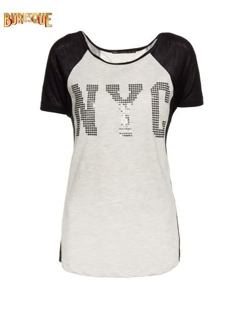 Szary t-shirt z błyszczącym nadrukiem NYC                                  zdj.                                  1