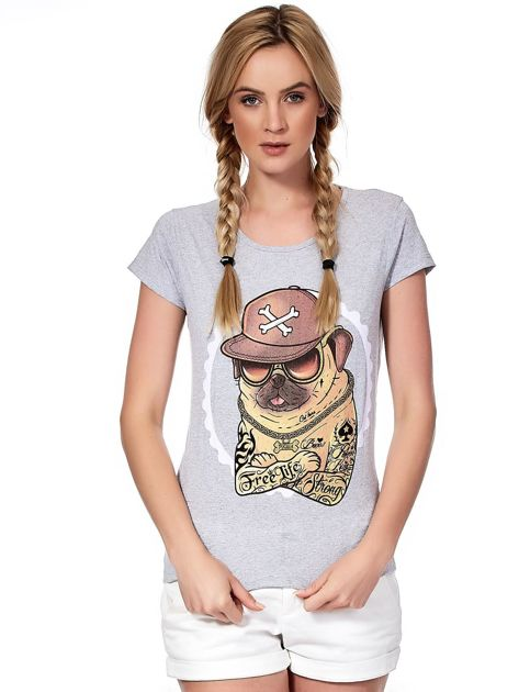 Szary t-shirt z buldogiem                              zdj.                              1