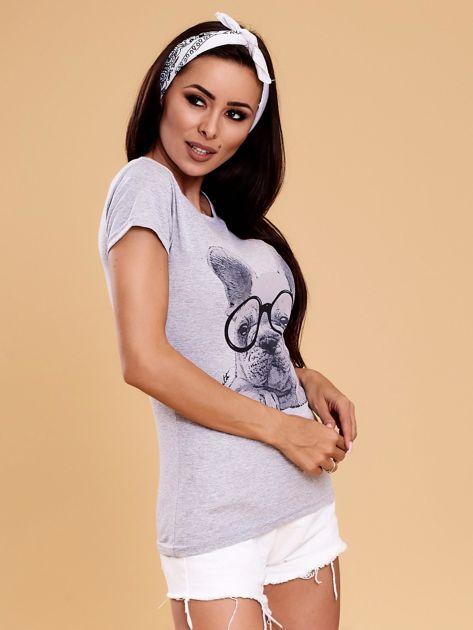 Szary t-shirt z buldożkiem                              zdj.                              6