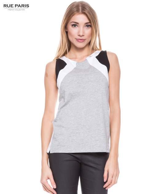 Szary t-shirt z geometrycznymi wstawkami na ramionach