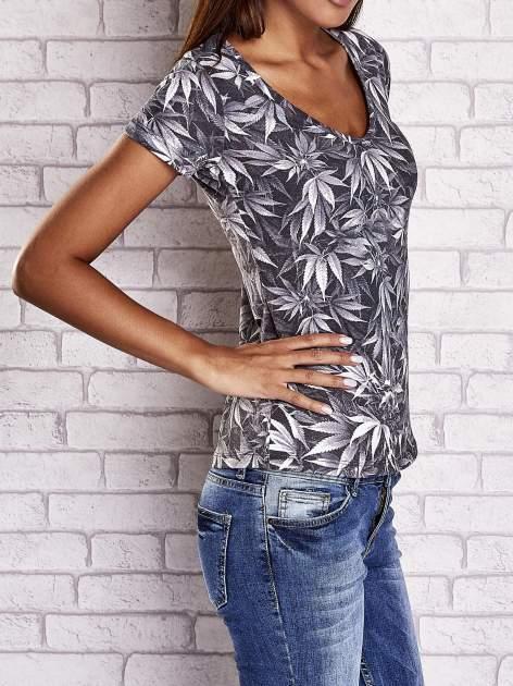 Szary t-shirt z motywem liści ganja weed                                  zdj.                                  3