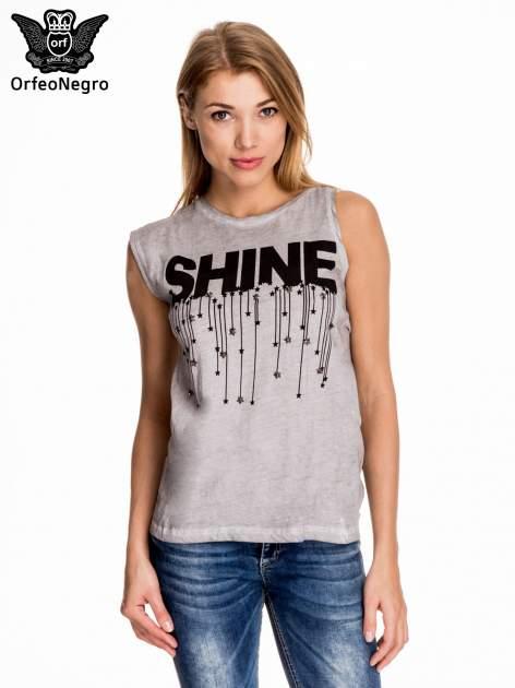 Szary t-shirt z nadrukiem SHINE z gwiazdkami                                  zdj.                                  1