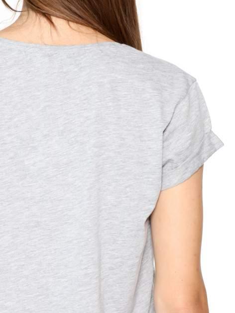 Szary t-shirt z nadrukiem awiatorów z motywem ENGLAND/ITALY                                  zdj.                                  7