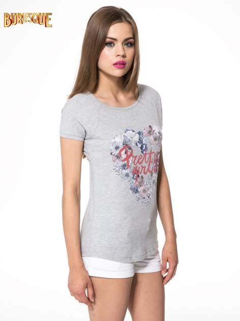 Szary t-shirt z nadrukiem kwiatowym PRETTY GIRL                                  zdj.                                  3