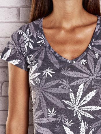 Szary t-shirt z nadrukiem liści weed ganja                                  zdj.                                  5