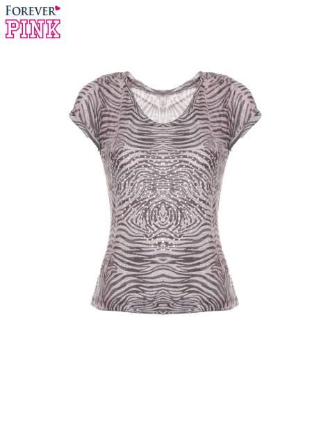 Szary t-shirt z nadrukiem zebry z dżetami                                  zdj.                                  2