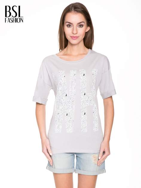 Szary t-shirt z nadukiem WHY? z przodu i na plecach