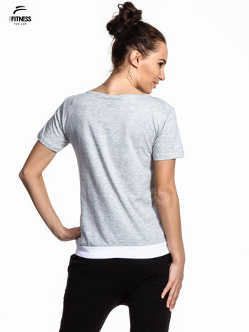 Szary t-shirt z napisem GO FITNESS                                  zdj.                                  3