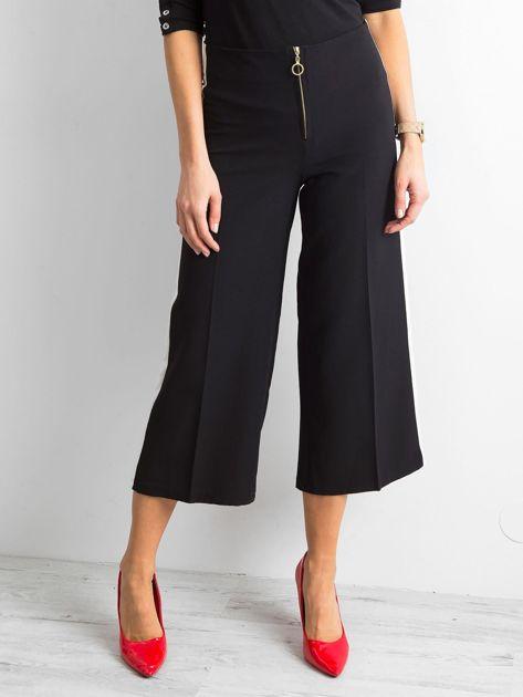 Szerokie spodnie z lampasami czarne                              zdj.                              1