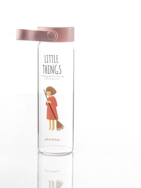 Szklana butelka na napój różowa                              zdj.                              3