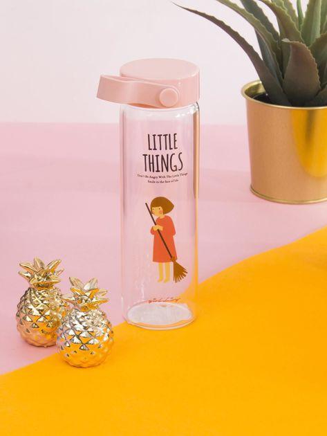 Szklana butelka na napój różowa                              zdj.                              2
