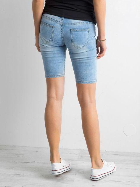 Szorty jeansowe z przetarciami niebieskie                              zdj.                              2